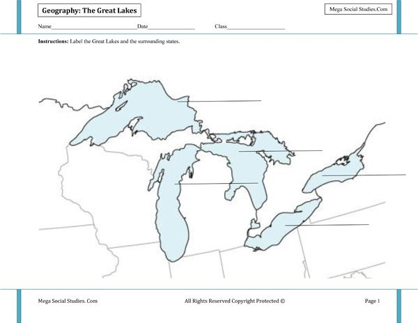 ImageQuiz Great Lakes - Great lakes labeled map